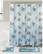 Bath Mat Set Contour And Rug With Fabric Shower Curtain And Fabric Covered Rings