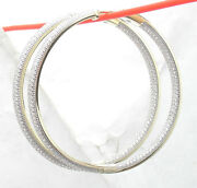 2.25 Inside Out Pave Diamonique Cz Hoop Earrings Anti-tarnish Real 925 Silver