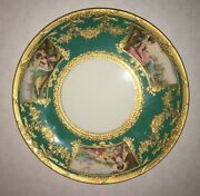 Antique Davis Collamore And Co. 24k Gold Leaf/jade Plate With Paintings
