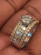 Pave 1.58 Cts Princess Cut Natural Diamonds Engagement Ring In Hallmark 14k Gold