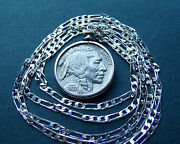 American 1937 Philly Buffalo Nickel On 28 925 Sterling Silver Linked Chain