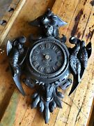 Antique French Cast Iron Key Wound Hunters Game Wall Clock Original