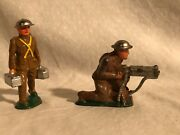 Barclay Manoil Dimestore Toy Soldier Machine Gun And Ammo Carrier