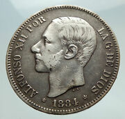 1884 Spain W King Alfonso Xii Antique Silver 5 Pesetas Spanish Coin I74757