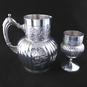 Victorian Silver Plate Pitcher And Goblet Webster And Son - Late 19th Century