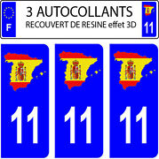 3 Stickers Car Registration Plate Doming 3d Resin Spain Flag No. 11