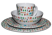 8/16 Pcs Melamine Complete Dinner Set Fishing Picnic Outdoor Camping Bbq Dining