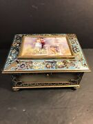 French Antique Bronze Cloisonneporcelain And Onyx Jewelry Boxsigned. C.1900