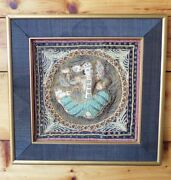 Vintage Burmese Embroidered Picture Yoga Sequins Beads Gold Thread Frame 1980s