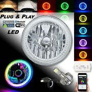 7 Motorcycle Bluetooth Rgb Smd Color Chasing Halo Headlight 360anddeg Led Bulb Each