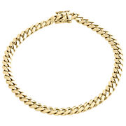Mens Real 14k Yellow Gold 6mm Solid Miami Cuban Link Bracelet Heavy Box Clasp 9
