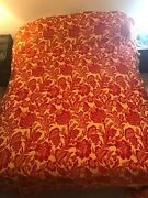 Vintage Mid-century Bates Bedspread Red/gold Embroidered Double Size Blanket