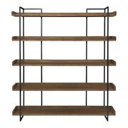 75.5 T Lawrence Bookshelf Hand Stained Solid Acacia Shelves Iron Framework