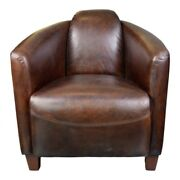 29.5 W Club Chair Brown Top Grain Leather Rounded Back Solid Birch Framework