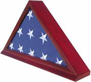 Burial/memorial Flag Display Case For 5and039x9.5and039 Folded Solid Wood Real Glass