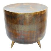 19 Dia. Accent Table Aluminum Drum Rustic Gold Copper Finish One Of A Kind
