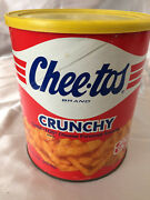 Vintage Chee-tos Brand Crunchy Cheese Flavored Snacks Empty Canister Frito Lay