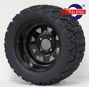 Golf Cart 12 Black Steel Wheels And 20x10-12 All Terrain Tires Set Of 4