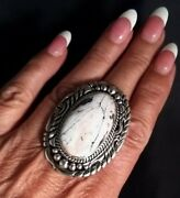 Size 9 Navajo Signed White Buffalo Turquoise And Sterling Silver Ring Elouise Kee