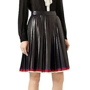 Nwt 3500  Pleated Leather Skirt, Black Sz 40 In Stores Now
