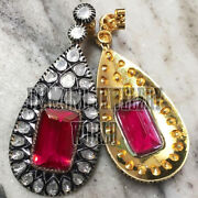 Estate Vintage 5.50cts Antique Cut Diamond Ruby Studded Silver Earring Jewelry