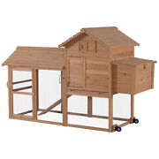 Portable Wooden Chicken Coop With Wheels Outdoor Run And Nesting Box 0309