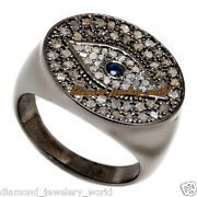 2.84cts Rose Cut Diamond Sapphire Silver Antique Finished Evil Eye Ring Jewelry