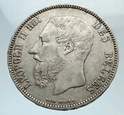 1873 Belgium With King Leopold Ii And Lion Genuine Silver 5 Francs Coin I75395
