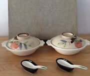 """Vintage Japanese Soup Bowl Set With Lids And Spoons """" Very Hard To Find"""""""