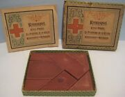 Old 1897 German Miniature Clay/stone Richter Puzzle Blocks In Box W/ Booklet