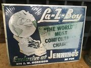 Vintage La-z-boy Original Store Advertising Tin Sign Double Sided 1940andrsquos