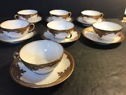 A Set Of 7 Antique Limoges Tea Cup And Saucer/ Raised Gilt/ 14 Pieces/ Hand Made