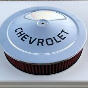 Chevrolet Chrome Air Cleaner Black Logo 14x3 Red Washable Filter New