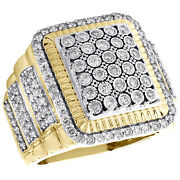 10k Yellow Gold Diamond Fluted Square Pinky Ring 22mm Step Shank Pave Band 2 Ct.