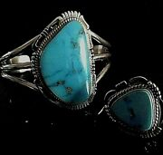 Navajo Castle Dome Turquoise And Sterling Silver Cuff And Ring Set Bennie Ration