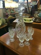 Signed Waterford Shannon Jubilee Sherry Decanter With Six Sherry Goblets