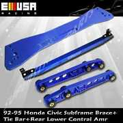 Rear Lower Control Arm Tie Bar Subframe Bar Blue For 92-95 Civic 93-97 Del Sol