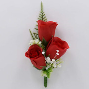 Artificial Wedding Flowers Hand-made By Petals Polly, Christmas Silk Rose In Red
