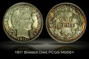 1911 Barber Dime Pcgs Ms66+ Well Struck Colorful Fiery Toning Plus Grade 10c