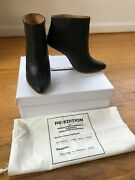 Maison Martin Margiela For Handm Leather Floating Heel Ankle Boots Sz 40/ Us 9