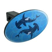Hammerhead Sharks Swimming In The Ocean Oval Tow Trailer Hitch Cover Plug Insert