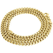 Solid 18k Yellow Gold Hollow Round Box Link Chain 3.50mm Necklace 20 - 24 Inches