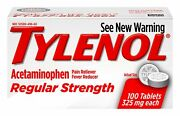 Tylenol Pain Reliever Fever Reducer Regular Strength 100 Tablets Pack Of 12