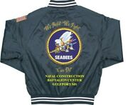 Seabees Naval Construction Battalion Gulfport-ms 2-sided Satin Jacket W/ Flag