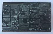 Vintage Map Of Champaign County, Ohio Newspaper Printing Block 7 1/4 Metal Wood