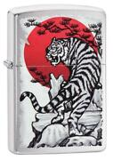 Zippo Windproof Asian Tiger Lighter With Rising Sun 29889 New In Box