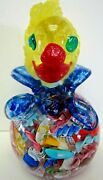 Murano Art Glass Signed Label Signed Avem Clown Paperweight Large