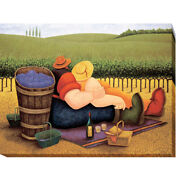 Summer Picnic By Lowell Herrero Gallery-wrapped Canvas Giclee, 12 In X 16 In