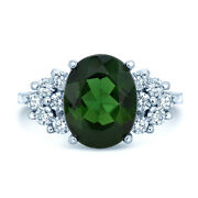 18k White Gold Natural Green Tourmaline Diamond Oval Cocktail Ring Natural 7