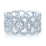 14k White Gold Diamond Open Lace Wide Cocktail Ring Womens Band Round Natural 7
